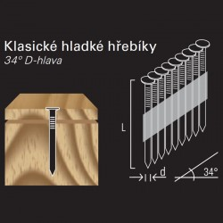 Hladký hřebík v páse REICH by Holz-Her papír 34° (3,1 x 90 H BK)