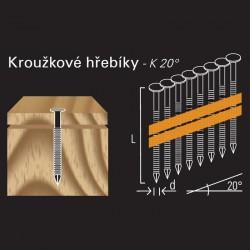 Konvexní hřebík REICH by Holz-Her plast 20° (2,8/3,1 x 65 H BK E)