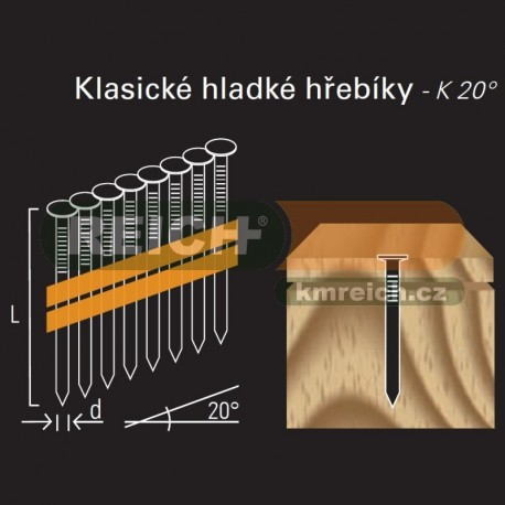 Hladký hřebík REICH by Holz-Her plast 20° (4,6 x 220 H BK)