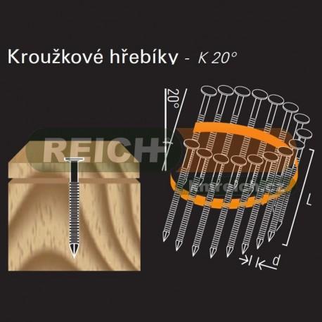 Konvexní hřebík ve svitku REICH by Holz-Her plast 20° (2,0/2,2 x 35 BK)
