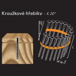 Konvexní hřebík ve svitku REICH by Holz-Her plast 20° (3,1/3,4 x 80 H BK)