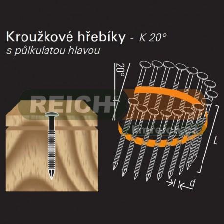 Konvexní hřebík ve svitku REICH by Holz-Her plast 20° (2,2/2,5 x 50 H A2) s půlkulatou hlavou
