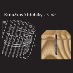 Konvexní kroužkový hřebík ve svitku REICH by Holz-Her drát 16° (2,3/2,5 x 55 H BK E)