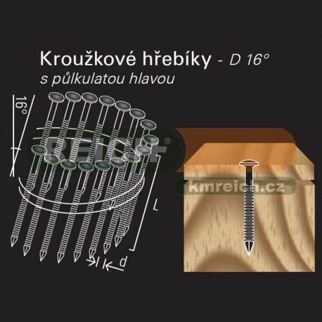 Konvexní kroužkový hřebík ve svitku REICH by Holz-Her drát 16° (2,8/3,1 x 80 H BK) s půlkulatou hlavou