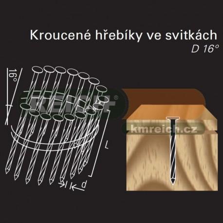 Kroucený hřebík ve svitku REICH by Holz-Her drát 16° (2,8/3,0 x 40 H BK)