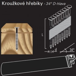 Kroužkový konvexní hřebík v páse REICH by Holz-Her papír 34° (2,8 x 80 H BK) + Plyn