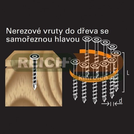 Nerezový vrut polozávit ve svitku REICH by Holz-Her TX-20 (4,0x 45 A2 CS Z) do dřeva s vrtákovou špičkou